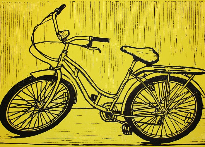 Bike Greeting Card featuring the drawing Bike 5 by William Cauthern