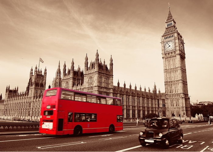 London Greeting Card featuring the photograph Bus In London by Songquan Deng