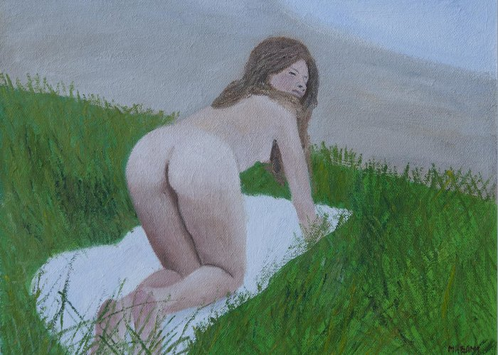 Nude Greeting Card featuring the painting By The Lake by Masami Iida