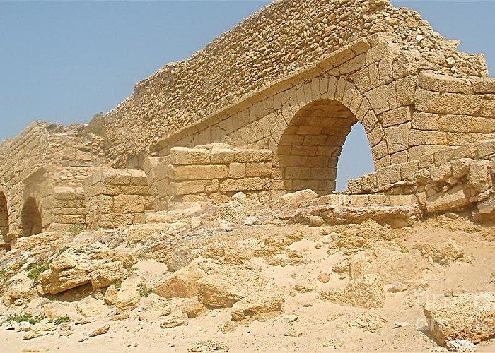 Caesarea Greeting Card featuring the photograph Caesarea Israel Ancient Roman Remains by Robert Birkenes
