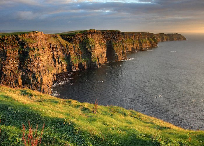 Ireland Greeting Card featuring the photograph Cliffs Of Moher Sunset Ireland by Pierre Leclerc Photography