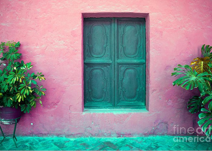 Row Greeting Card featuring the photograph Colorful Old Architecture Details by Yaromir Mlynski