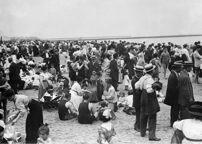 20th Century Greeting Card featuring the photograph Coney Island Beach by Granger