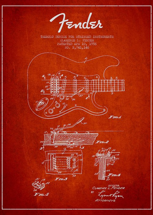Fender Greeting Card featuring the digital art Fender Tremolo Device Patent Drawing From 1956 by Aged Pixel