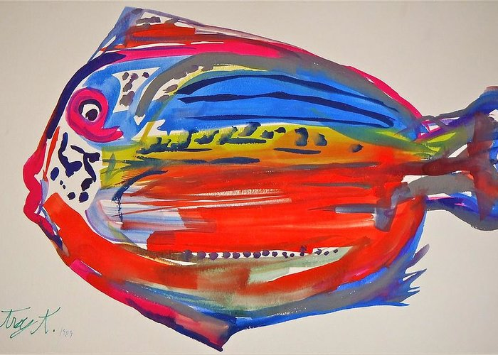 Fish Greeting Card featuring the painting Fish by Troy Thomas