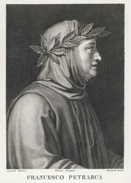 Petrarch Greeting Card featuring the drawing Francesco Petrarch Italian Poet by Mary Evans Picture Library