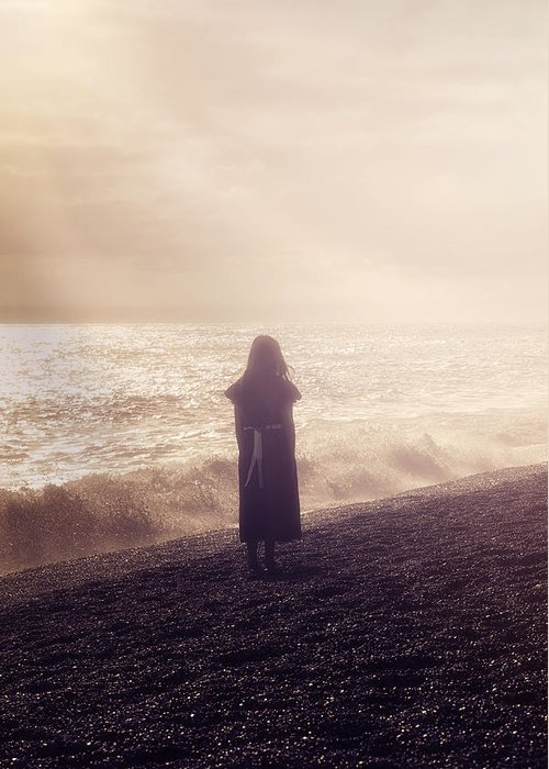 Girl Greeting Card featuring the photograph Girl On Beach by Joana Kruse