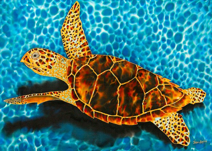 Sea Turtle Art Greeting Card featuring the tapestry - textile Green Sea Turtle by Daniel Jean-Baptiste