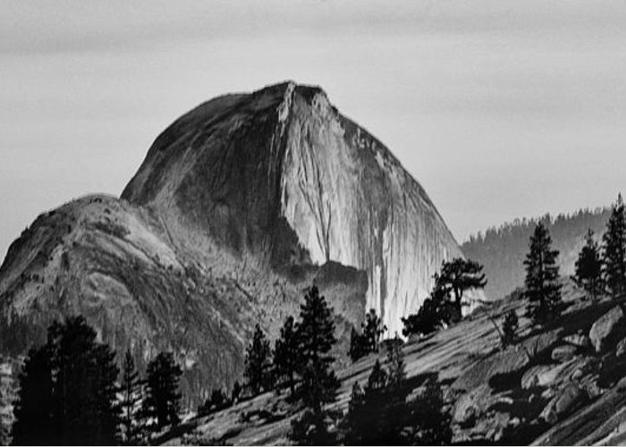 Black Greeting Card featuring the photograph Half Dome by Cat Connor