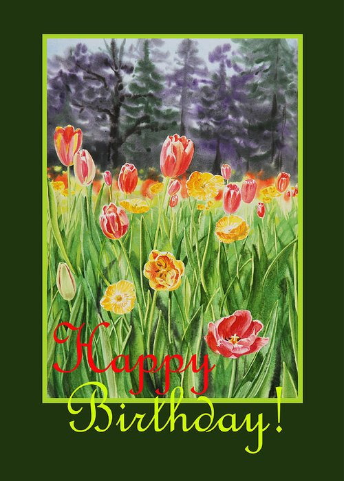 Tulips Greeting Card featuring the painting Happy Birthday by Irina Sztukowski