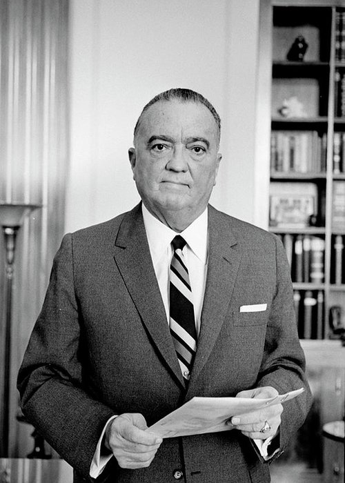 1961 Greeting Card featuring the photograph John Edgar Hoover (1895-1972) by Granger