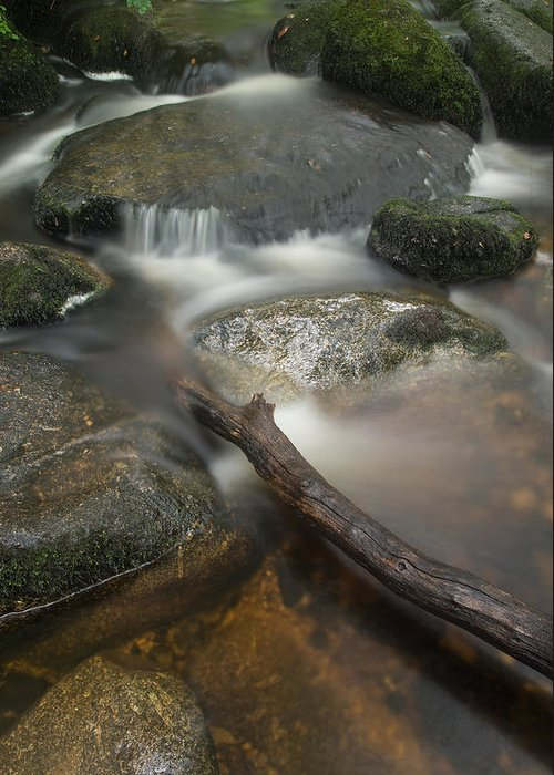 Landscape Greeting Card featuring the photograph Landscape Of Becky Falls Waterfall In Dartmoor National Park Eng by Matthew Gibson