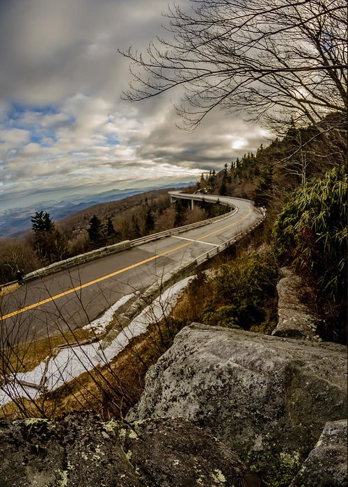 Road Greeting Card featuring the photograph Linn Cove Viaduct During Winter Near Blowing Rock Nc by Alex Grichenko