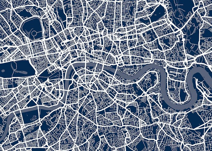 central london greeting card featuring the digital art london england street map by michael tompsett