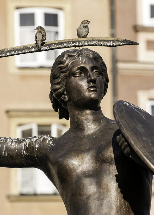 Mermaid Greeting Card featuring the photograph Mermaid Statue In Warsaw. by Fernando Barozza
