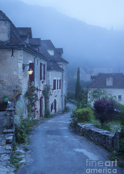 Arch Greeting Card featuring the photograph Misty Dawn In Saint Cirq Lapopie by Brian Jannsen