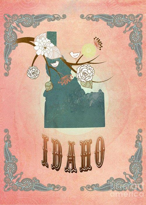 Idaho Greeting Card featuring the digital art Modern Vintage Idaho State Map by Joy House Studio