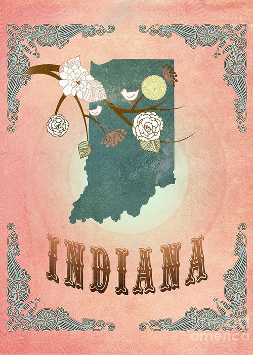 Indiana Greeting Card featuring the digital art Modern Vintage Indiana State Map by Joy House Studio