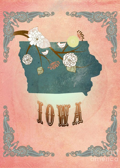 Iowa Greeting Card featuring the digital art Modern Vintage Iowa State Map by Joy House Studio