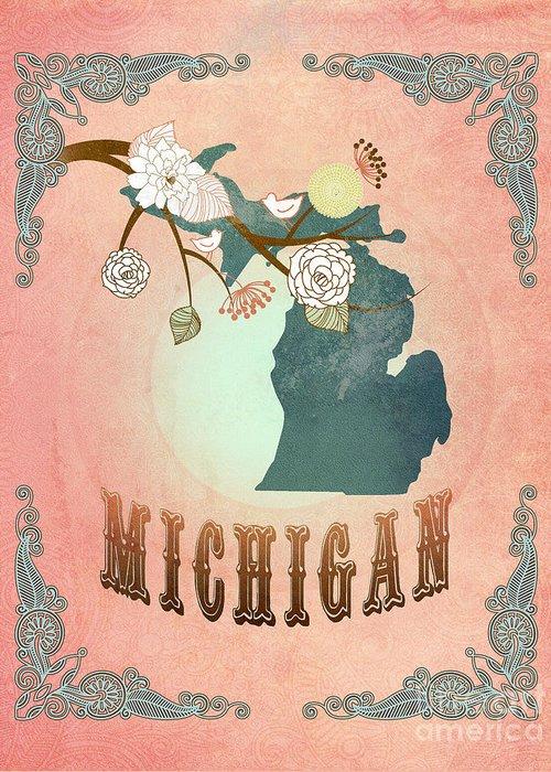 Michigan Greeting Card featuring the digital art Modern Vintage Michigan State Map by Joy House Studio