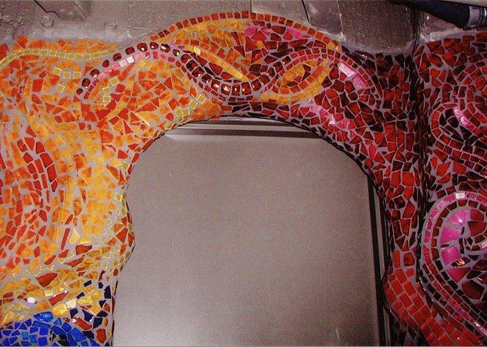Mosaic Doorway Greeting Card featuring the ceramic art Mosaic Doorway by Charles Lucas