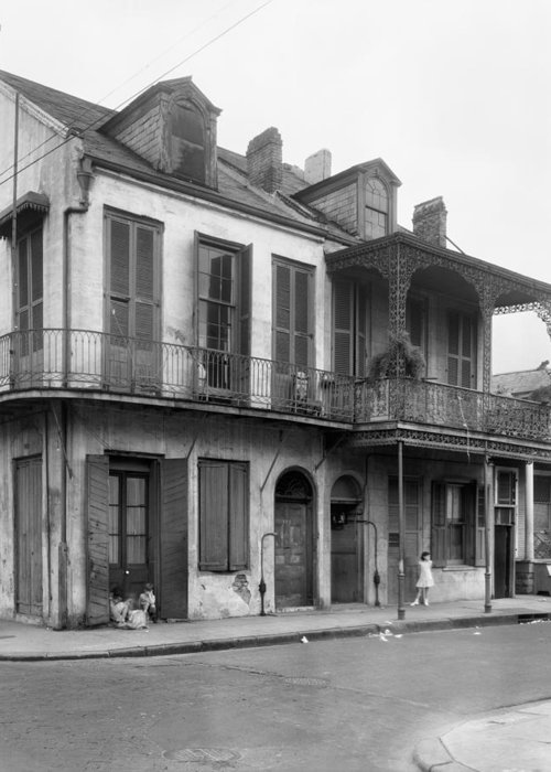 1938 Greeting Card featuring the photograph New Orleans House by Granger