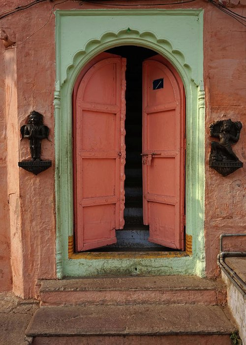 Description Greeting Card featuring the photograph Old Doors India, Varanasi by Stereostok