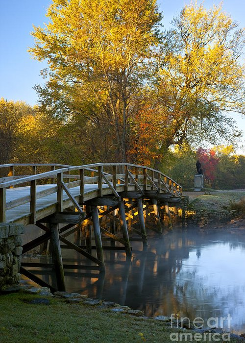Autumn Greeting Card featuring the photograph Old North Bridge Concord by Brian Jannsen