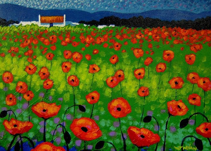 Landscape Greeting Card featuring the painting Poppy Field by John Nolan