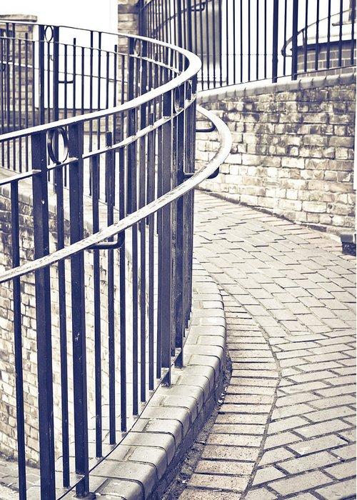 Alley Greeting Card featuring the photograph Railings by Tom Gowanlock