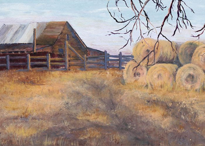 Landscape Greeting Card featuring the painting Ready For Winter by Bev Finger