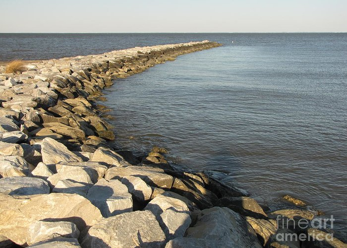 Schuminweb Greeting Card featuring the photograph Rock Jetty At Sandy Point by Ben Schumin