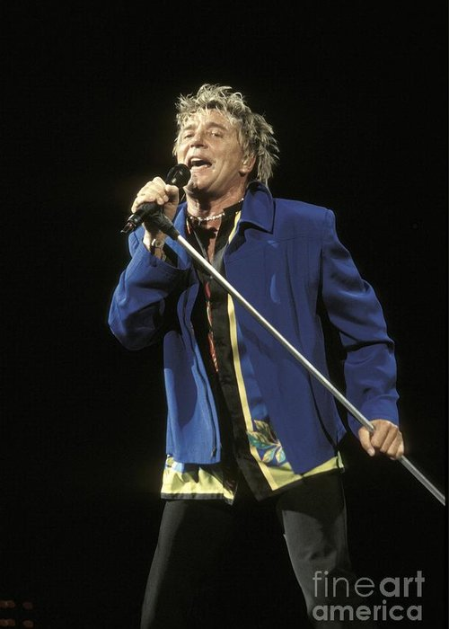 Performing Greeting Card featuring the photograph Rod Stewart by Concert Photos