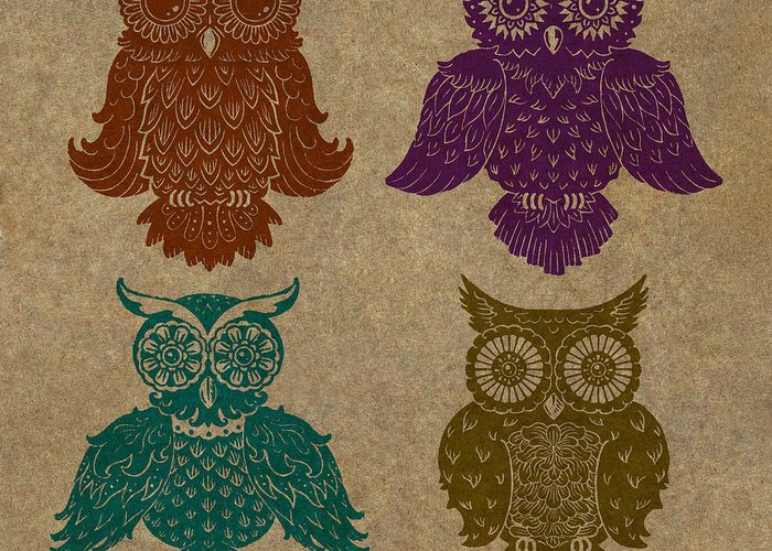 Owls Greeting Card featuring the painting 4 Sophisticated Owls Colored by Kyle Wood