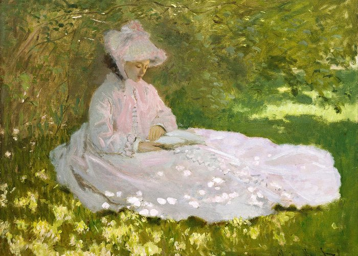 Claude Monet Greeting Card featuring the painting Springtime by Claude Monet