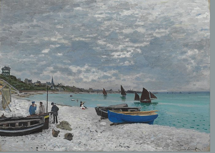 Claude Greeting Card featuring the painting The Beach At Sainte-adresse by Claude Monet