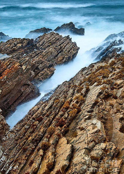 Montana De Oro Greeting Card featuring the photograph The Jagged Rocks And Cliffs Of Montana De Oro State Park In California by Jamie Pham