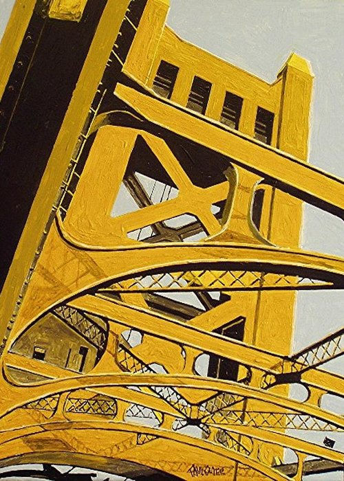 Sacramento Greeting Card featuring the painting Tower Bridge by Paul Guyer