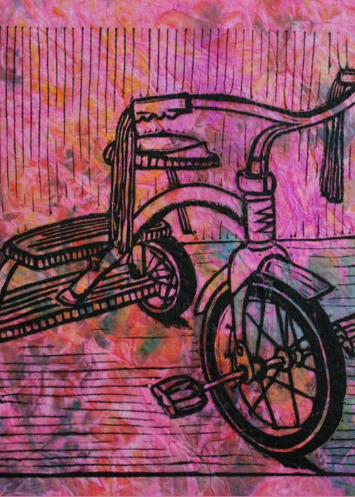 Tricycle Greeting Card featuring the drawing Tricycle by William Cauthern