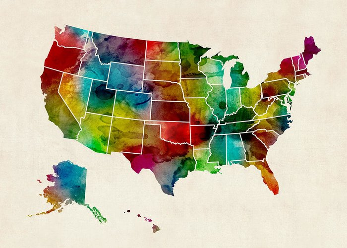 Us State Map Greeting Cards