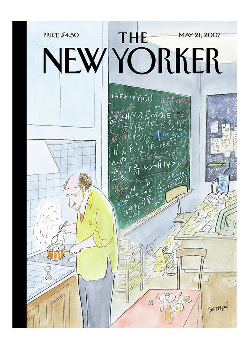 Scientist Math Mathematician Blackboard Kitchen Cooking Eggs Breakfast  123987   J.j. Sempe Sempe Jean-jacques Greeting Card featuring the painting New Yorker May 21st, 2007 by Jean-Jacques Sempe