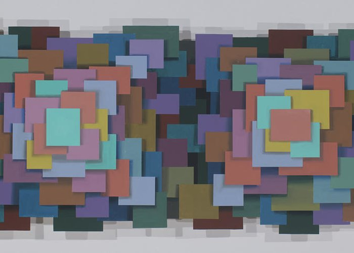 Abstract Geometric Optical Illusion Greeting Card featuring the painting Untitled 4 by Marston A Jaquis