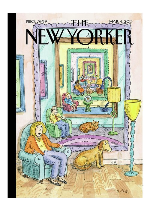 Dog Greeting Card featuring the painting New Yorker March 4th, 2013 by Roz Chast