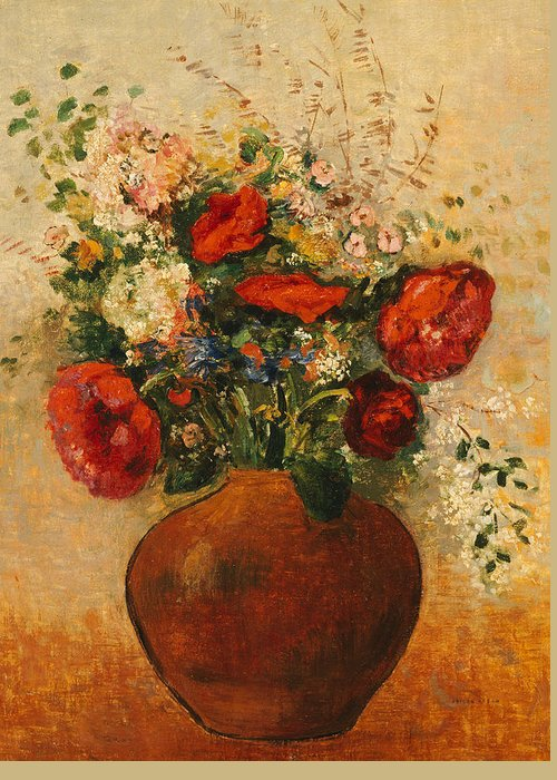 Still Life; Flower; Vase Greeting Card featuring the painting Vase Of Flowers by Odilon Redon