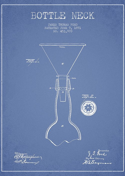 Bottle Patent Greeting Card featuring the drawing Vintage Bottle Neck Patent From 1891 by Aged Pixel