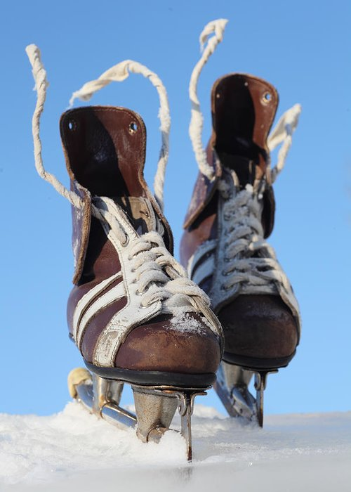 Skate Greeting Card featuring the photograph Vintage Pair Of Mens Skates by Mikhail Olykaynen
