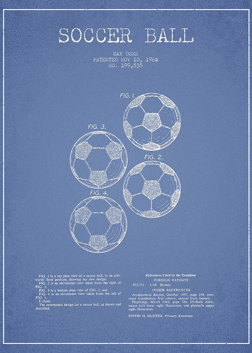 Soccer Greeting Card featuring the drawing Vintage Soccer Ball Patent Drawing From 1964 by Aged Pixel