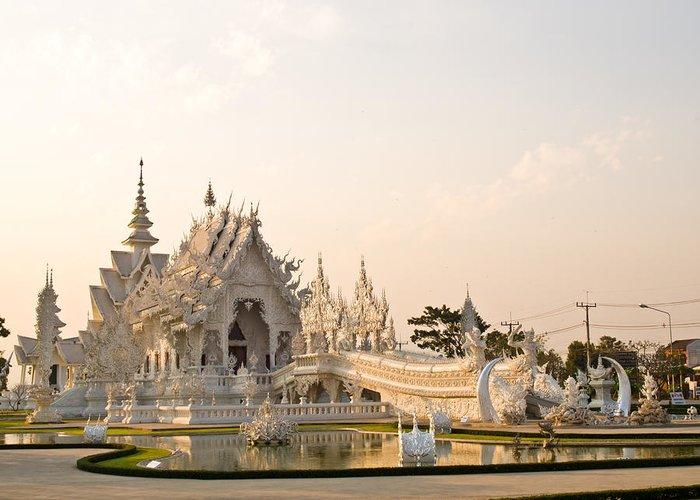 Chiang Rai Greeting Card featuring the photograph Wat Rong Khun In Chiang Rai Thailand by Ammar Mas-oo-di