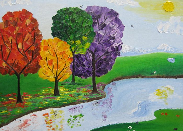 Landscape Greeting Card featuring the painting Where There Is Quiet by Sayali Mahajan