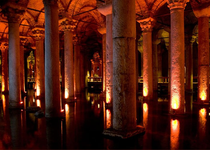 Yerebatan Greeting Card featuring the digital art Yerebatan Sarayi Cistern Istanbul Turkey  by Dray Van Beeck